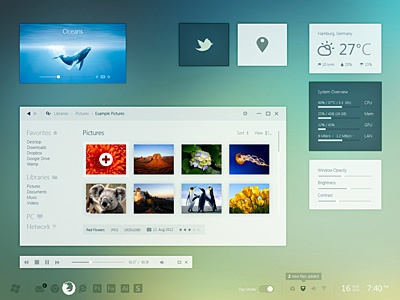 Windows 8 Day Mode windows 8 metro desktop pc gui ui simple minimal iconsweets climacons