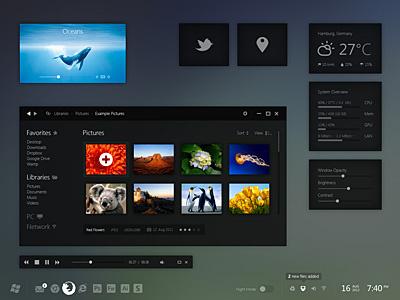 Windows 8 Night Mode windows 8 metro desktop pc gui ui simple minimal iconsweets climacons