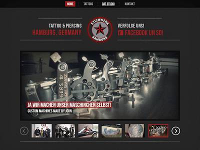 Stichwerk Hamburg website web dark black grey red gallery wordpress tattoo piercing hamburg