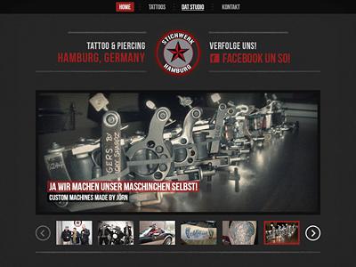 Stichwerk Hamburg website web dark black grey red gallery wordpress tattoo piercing hamburg