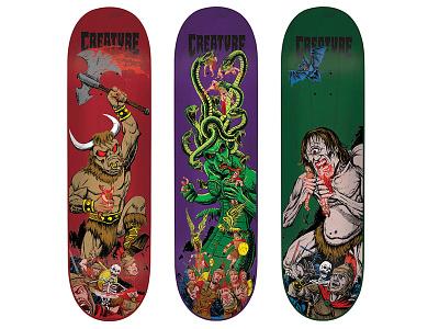 Creature Skateboards Deck Designs halloween ink graphics texture illustrator illustration illustrations skateboard monsters skateboards skateboarding