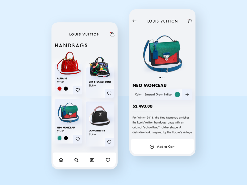 Louis Vuitton Shopping App favorite uxdesign ui redesigned fashion app add to cart clean ui redesign concept purses handbags shopping app store high fashion louis vuitton minimal minimalist redesign