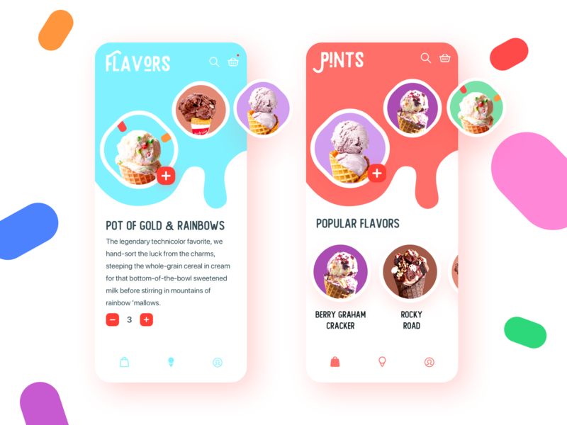 Ice Cream App ui  ux food app e-commerce app sketchapp clean uidesigner minimal add to cart shop blue coral bright app sweets icecream ice cream app uxdesign appdesign uidesign ui