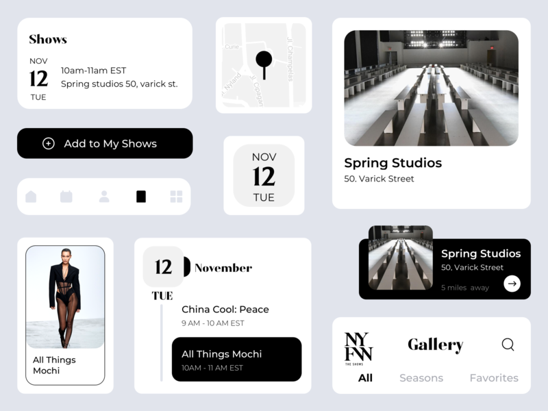 NYFW Design Components cards clean ui home search flat ui app ux design title map location user interface design ui design shows events calander buttons tabbar gallery components