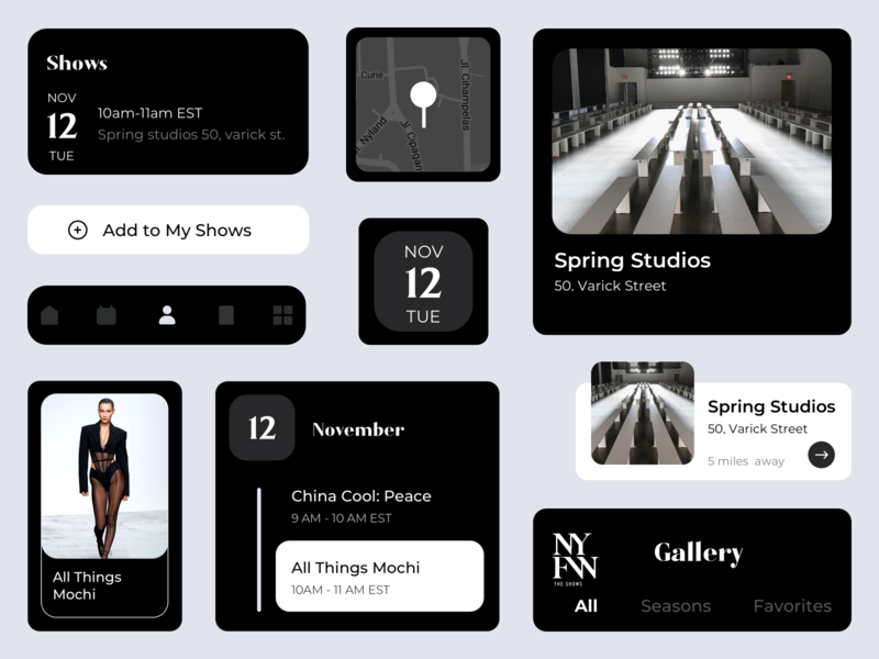 NYFW Design Components Dark Theme ui design dark ui user interface design icons design search home gallery card design title black and white flat design dark theme clean ui shows events calander tabbar swipe location apps