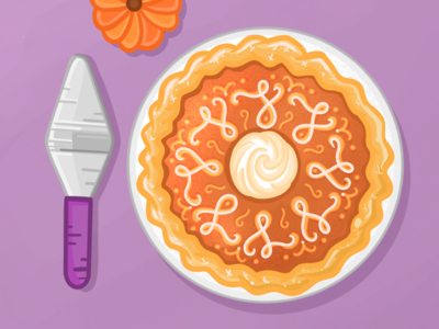 Pumpkin pie orange purple crisp clean thanksgiving procreate illustration pie pumpkin