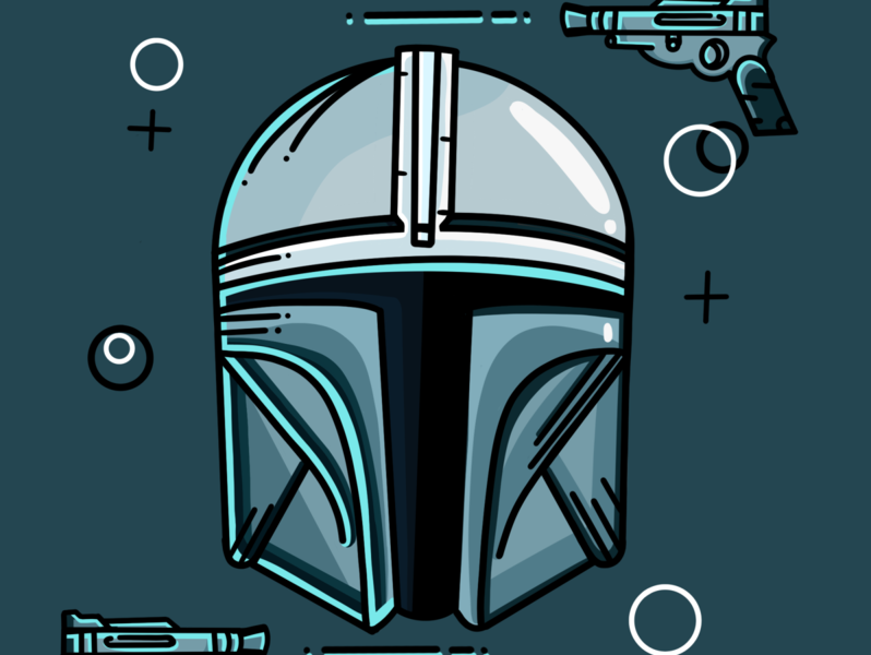 The Mandalorian helmet characterdesign character yoda helmet silver foil blue star wars procreate drawing mandalorian starwars design icon flat logo illustrator clean illustration