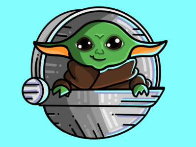 Baby Yoda! starwars yoda green flat design clean logo flat vector design icon procreate illustration