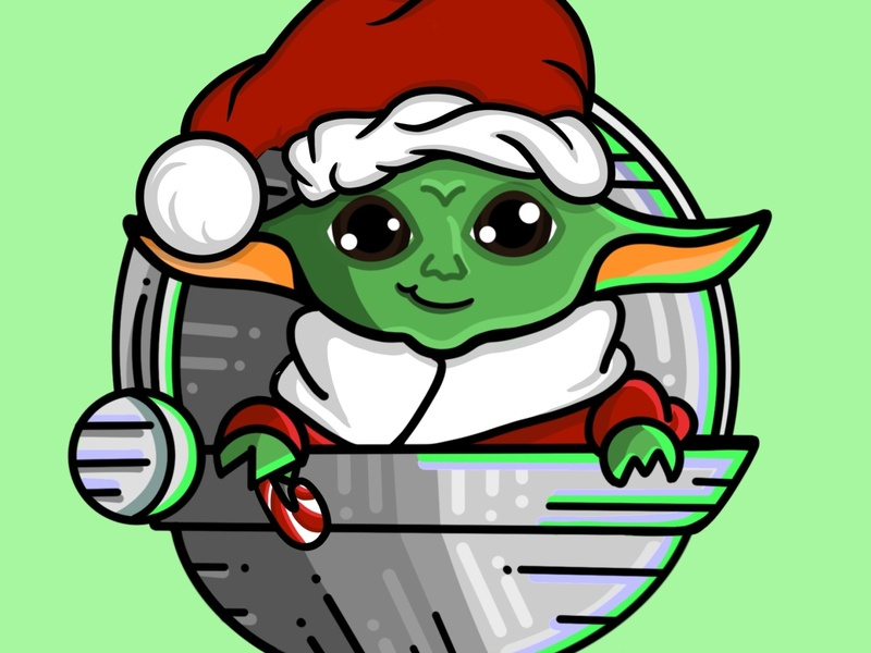 Christmas Baby Yoda digitalart digitaldrawing drawing design clean icon flat procreate art procreateapp procreate illustration the mandalorian starwars babyyoda