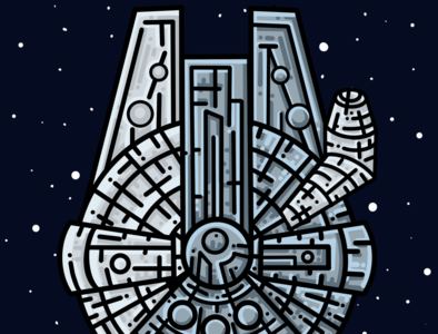 The Millennium Flacon Illustration millenium falcon starships starwars iconography digital painting digital art drawing illustrator procreate art designer procreateapp procreate vector icon flat clean illustration