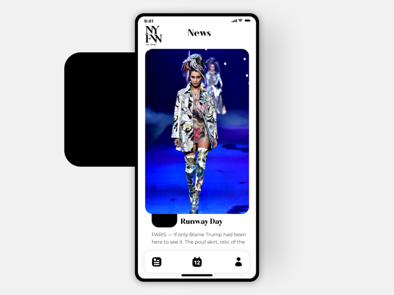 NYFW-News Page ui ux balance new york fashion app appdesign app design clean ux ui icon news feed news