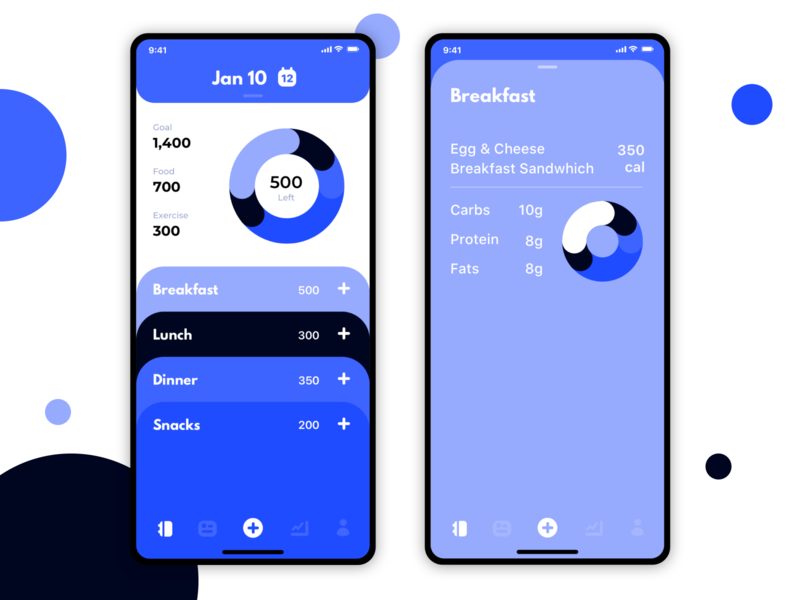 Fitness App Redesign - Diary workout charts minimalist clean modern icon sport fit gym ux design ui meals interaction calorie tracking fitness app fitness