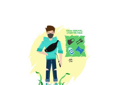 BOY NEW NORMAL  STARTER PACK indonesia newnormalstarterpack newnormal pandemicillustration pandemicart pandemic rppstdo vector art ui artoftheday flatdesign artwork illustration illustrasi flat design