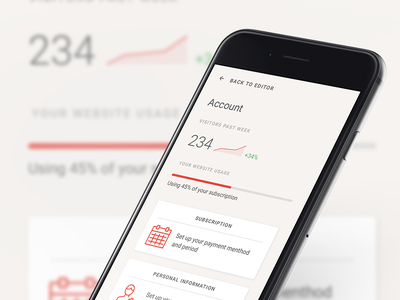 Account page responsive clean minimalistic sketch ios web app interface user ui