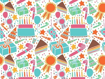 Colorful Vector Seamless Pattern Birthday Cake And