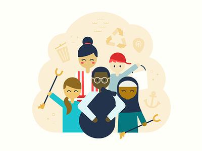 Rejected Background Illustration group join people cleanup shoreline simple flat illustration diversity