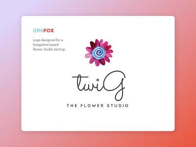 Twig flower studio logo logo design. bangalore startup flower studio logo