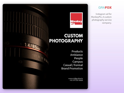 Monkey Pix photography ad design custom photography instagram