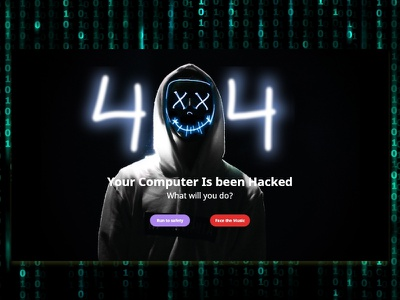 404 Error Page smile funny hacking hacker error 404page smiley matrix typography ui dailyui
