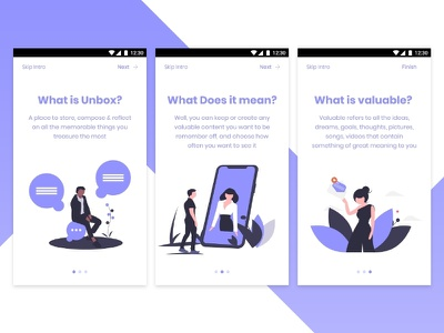 Unbox -  Onboarding Self Mindfulness reflection onboarding ui onboarding app vector undraw illustration ui dailyui