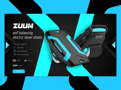 Let S Zuuuuuuuum -  Crowdfunding Page electric hover shoes zuum ui crowdfunding campaign crowdfunding dailyui