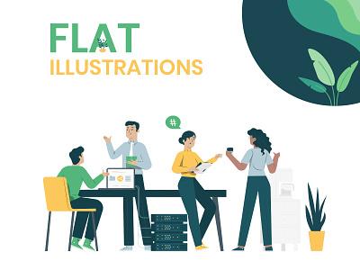 Flat Illustrations for Website - Tree Schema landing page onboarding business flat cool modern illustration graphics vector rabbixel