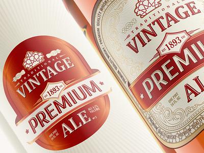 Vintage ALE Whisky Label-Packaging Branding design illustration flat modern vector rabbixel branding
