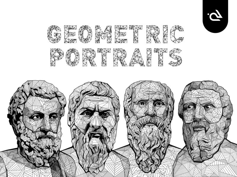 Geometric Portraits icons science stickers cool modern design conceptual rabbixel flat graphics aristotle plutarch socrate plato vector illustration portraits geometric illustration geometric design geometric
