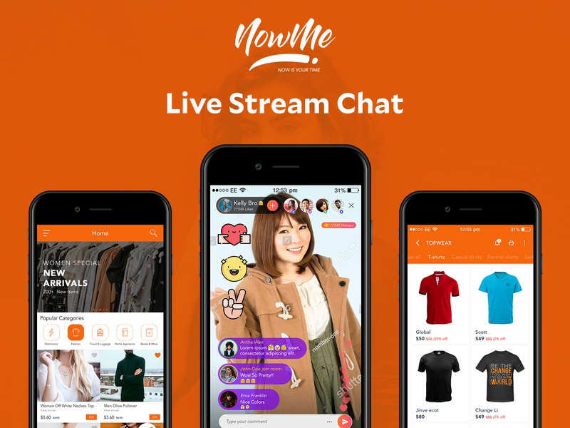 NowMe - Live Stream Chat App and Brand design uidesign graphics shopping app android app design application chat app live stream chat nowme