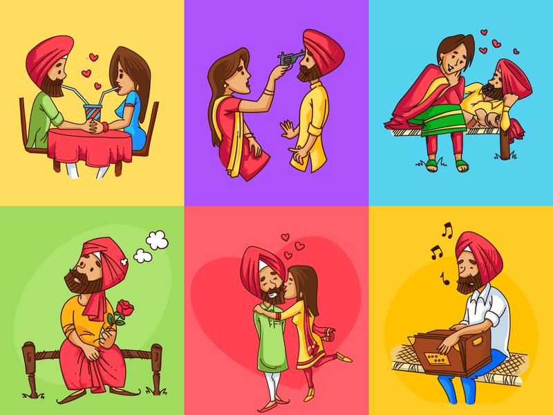 Punjabi People Vector Illustrations people flat people punjabi vector sardarni sardar punjabi indian vector