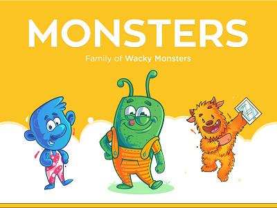 Vector Monster Characters graphics rabbixel crazy wacky indian cartoonist character design in india indian illustrator vector cartoon character design character cute cartoon vector monster monster