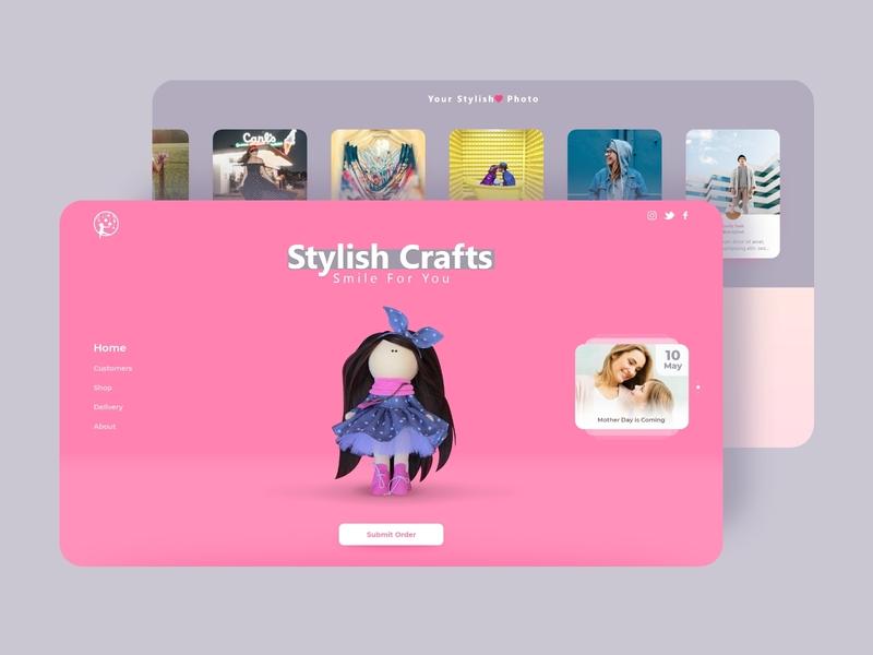Stylish Craft - Doll eshop onepage ui minimal pink pastel color eshop doll