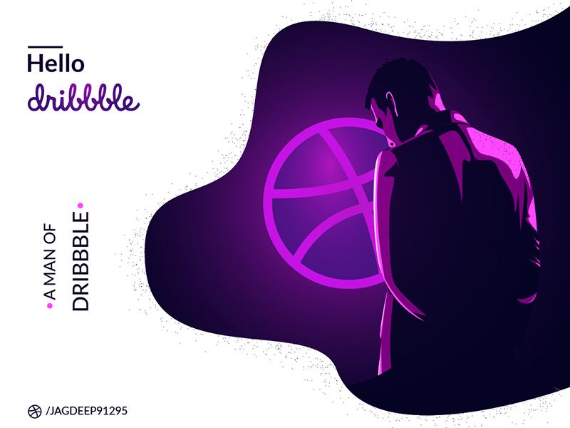 Hello Dribble (A Man Of Dribble) icon jagdeep91295 photoshop illustration inspiration work shots creative portfolio dribbble