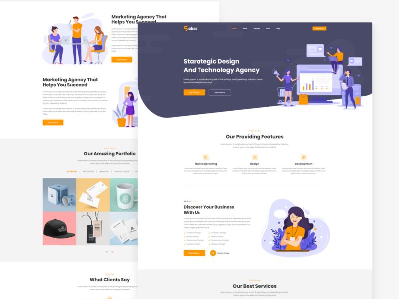 Sokar Creative Agency PSD Template agency website home homepage portfolio creative web-design web illustrator web deisgn ui-ux ux ux  ui design