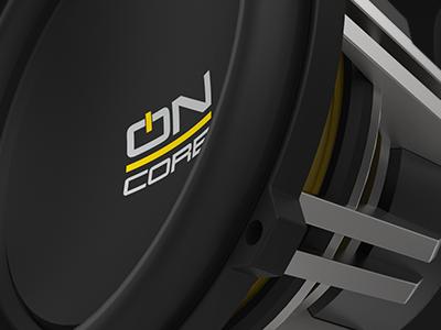 OnCore Audio car audio speakers branding yellow identity