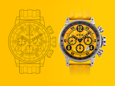 BRM Watch Technical Drawing chronograph technical drawing illustration vector watch