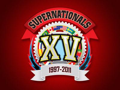 SuperNationals XV Logo logo illustration racing international flags