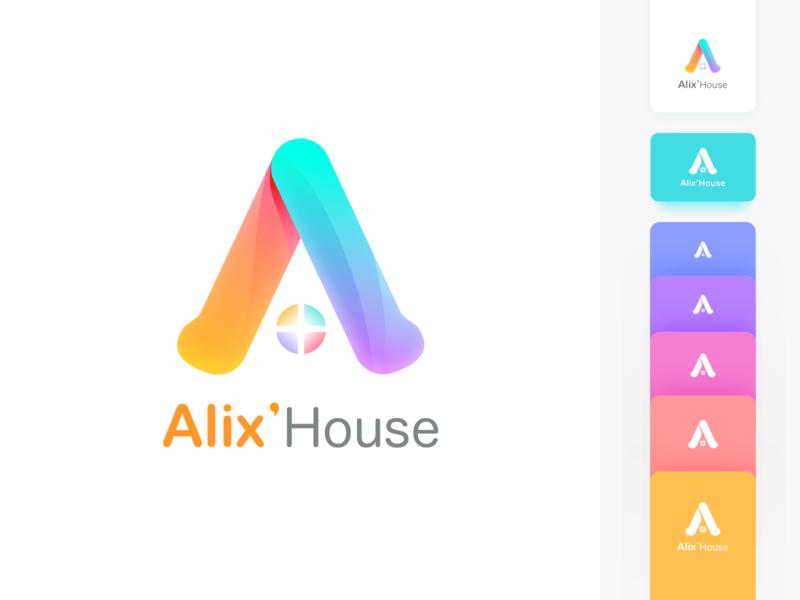 Alix'Hous house illustration brand design vi logo
