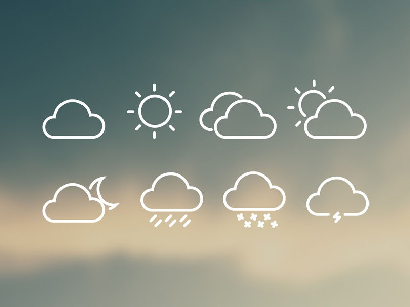 8 FREE Weather Icons by Peter Finlan - Dribbble