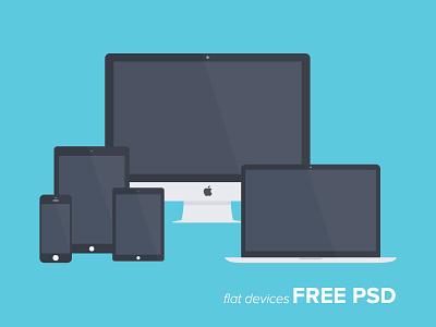 Freebie PSD: Free Flat Devices freebie flat devices psd imac macbook iphone