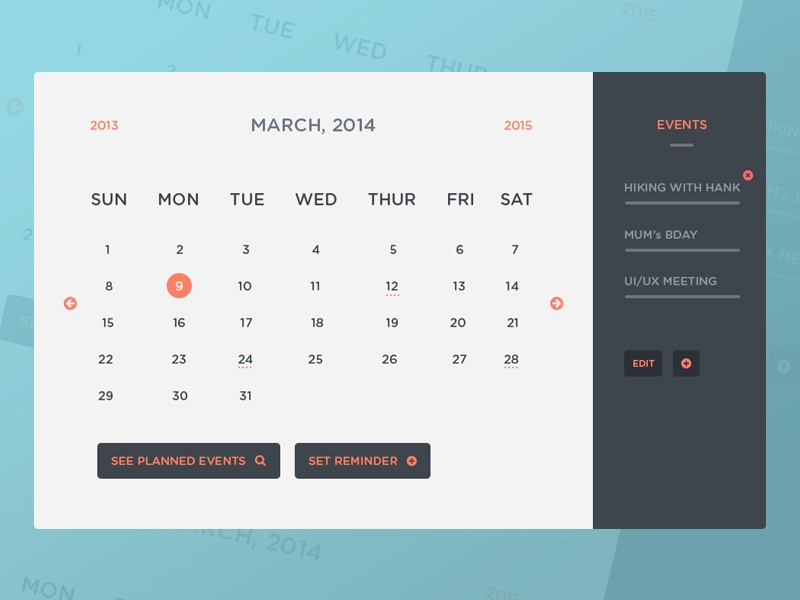 Calendar Ui Design Psd : Freebie psd calendar ui events by peter finlan