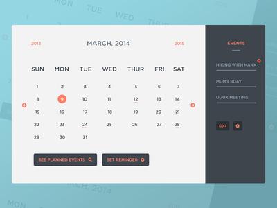 Freebie PSD: Calendar UI & Events freebie psd free calendar ui user interface events photoshop free psd