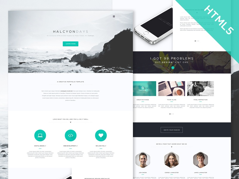 Freebie! Codrops Exclusive HTML5/CSS3 Template Halcyon Days freebie freebies html5 css3 web design codrops freebie psd free website photoshop sublime text free html template free web design
