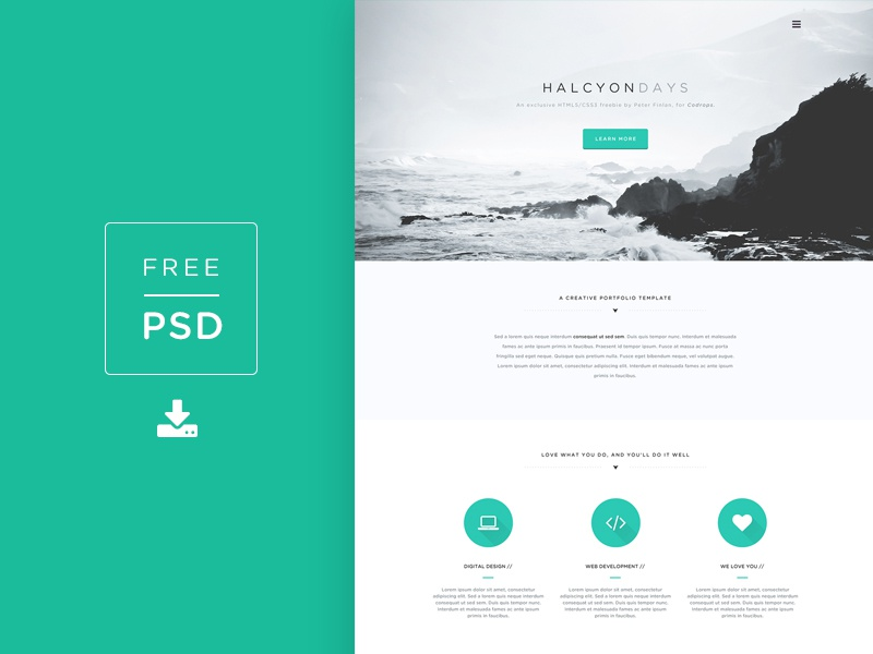Freebie PSD! Halcyon Days Website PSD freebie codrops psd free psd photoshop web design website template free template