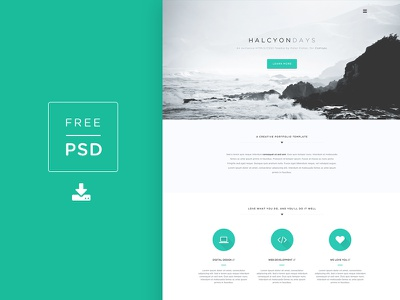 Freebie PSD! Halcyon Days Website PSD freebie codrops psd free psd photoshop web design website template free template