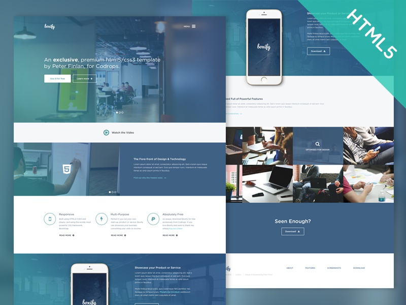 Freebie boxify html5css3 template for codrops by peter finlan boxify 2x maxwellsz