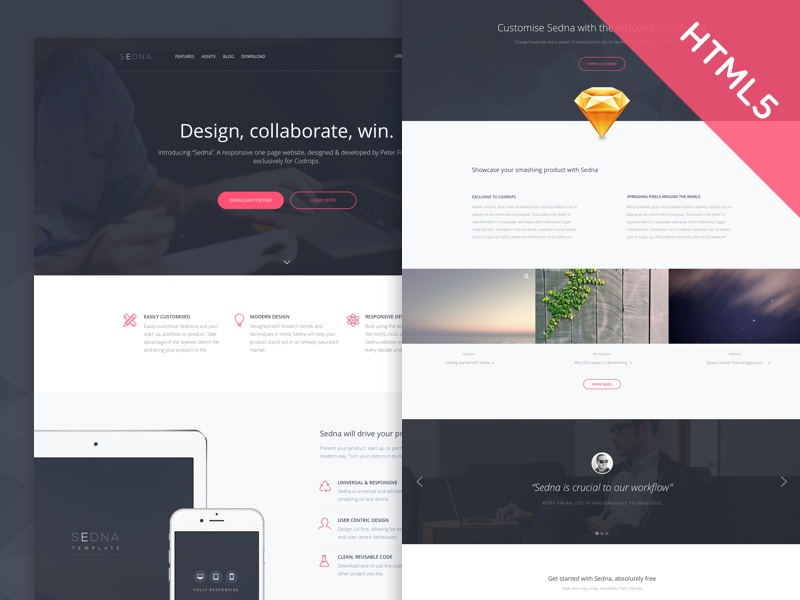 Freebie Codrops Exclusive Html5css3 Template Sedna By Peter