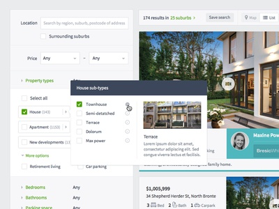 Domain Property Search Refinements UI domain house porn animation hover real estate property townhouse sketch ux design product design ui design