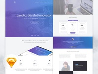 Sketch Freebie! Land.io UI Kit + Landing Page!