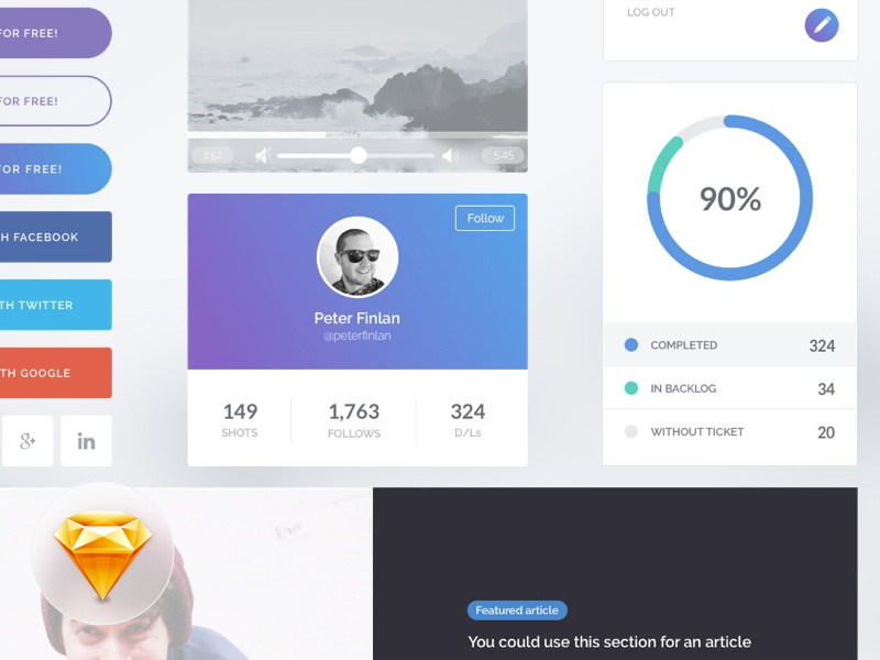 Freebie! UI Kit. Land.io Sketch Freebie. components flat design ui design freebie sketch ui kit